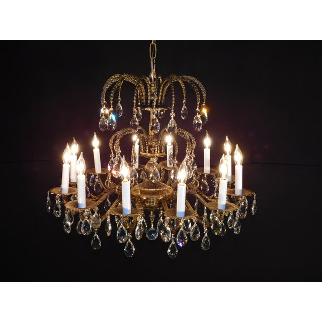1960s Antique French Brass Cut Lead Crystal Chandelier For Sale - Image 5 of 13
