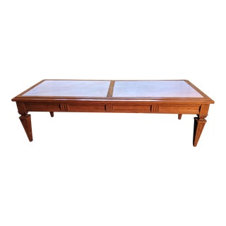 Vintage Mid-Century Italian Neoclassical Marble Top Coffee Table For Sale