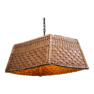 1920s Vintage French Woven Basket Chandelier