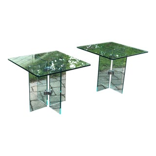 1970s Leon Rosen for Pace Collection Glass Side Tables - a Pair For Sale