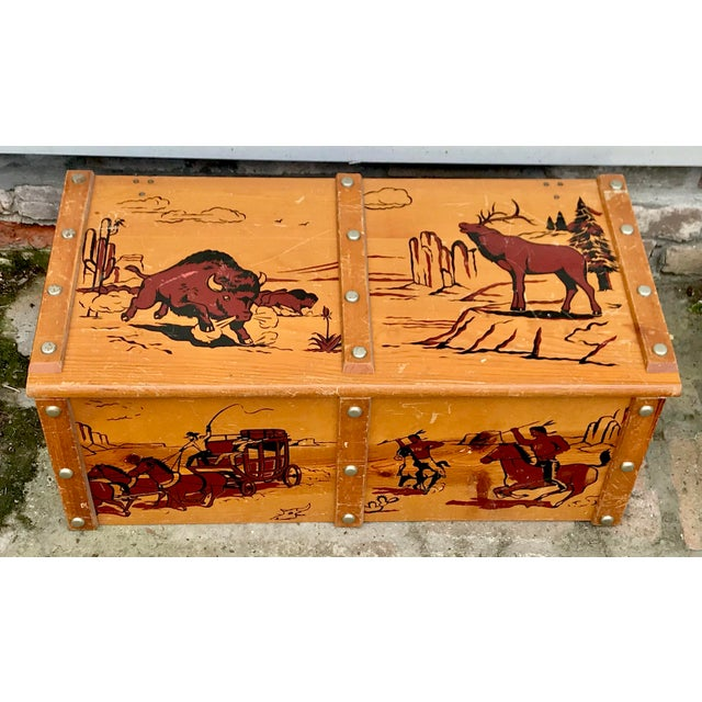 1950s Vintage Cowboys and Indians Wooden Toy Chest For Sale - Image 4 of 13