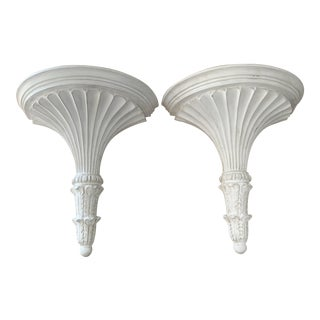 Pair of White Painted Carved Wood Neoclassical Gustavian Style Wall Brackets- a Pair For Sale