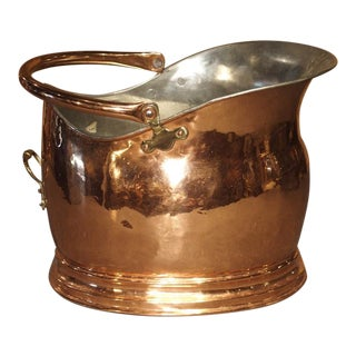 Copper and Brass Coal Scuttle or Kindling Holder, England 20th C. For Sale