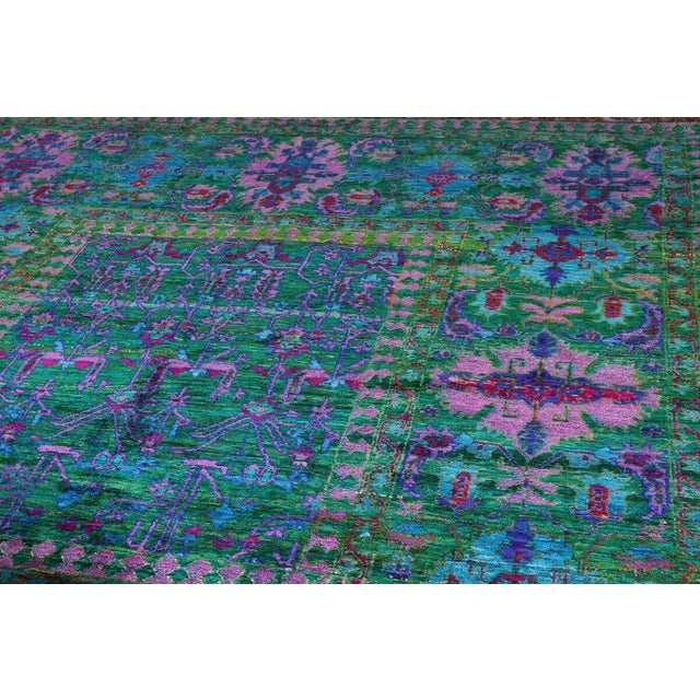 Traditional Vintage Mid-Century Hand-Knotted Floral Rug - 7′9″ × 9′7″ For Sale - Image 3 of 5