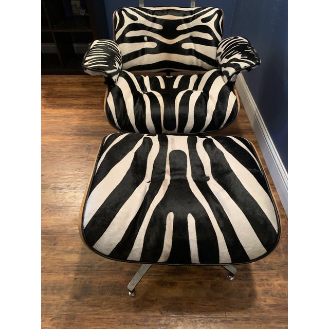 White Modern Custom Zebra Hide Eames Style Lounge Chair and Ottoman For Sale - Image 8 of 12