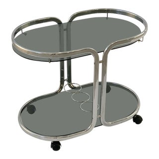 French Chrome and Smoked Glass Drink Cart For Sale