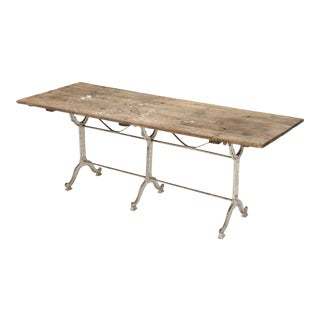 Antique French Bistro Table With Rustic Top For Sale