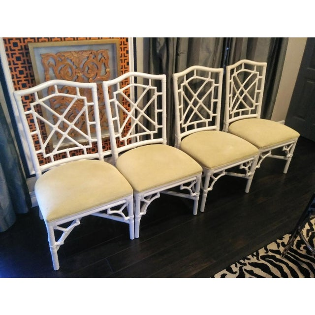Fabric Set of 4 Palm Beach Regency White Chippendale Fret Work Dining Room Chairs For Sale - Image 7 of 8