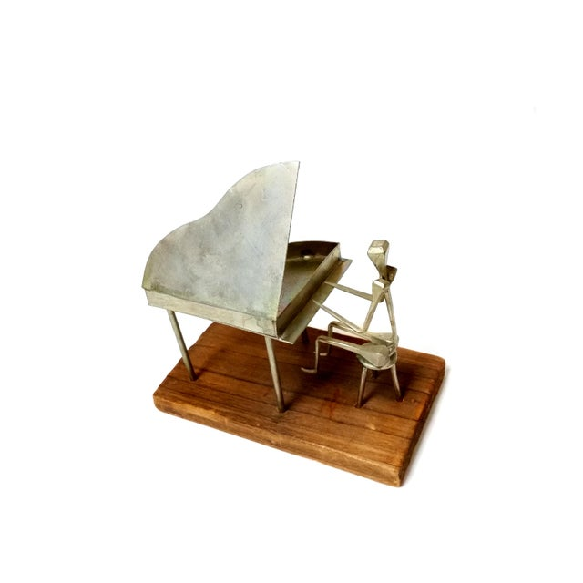 Traditional Modern Metal Pianist Playing Piano Design With Horseshoe Nail Welding Sculpture For Sale - Image 3 of 6
