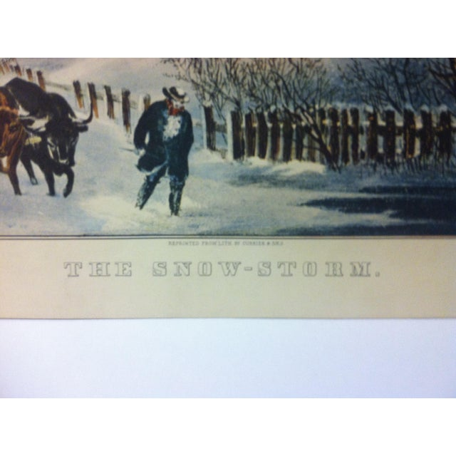 """American Currier & Ives Color Print, """"The Snow Storm"""", 1954 For Sale - Image 3 of 4"""