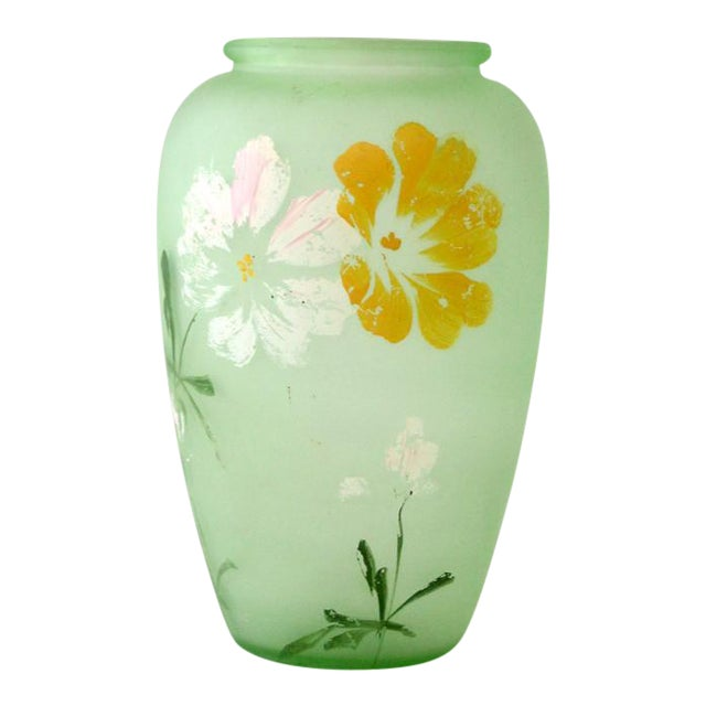 Depression Era Green Satin Glass Vase Chairish