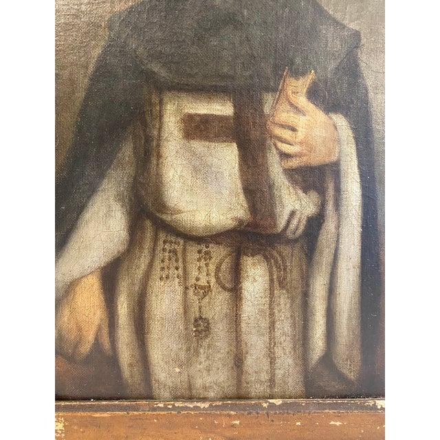 Portraiture Antique 19th C. Portrait of Saint Dominic Oil on Canvas Painting For Sale - Image 3 of 11