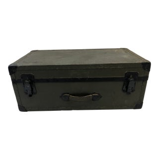 Vintage Military Hard Shell Army Green Foot Locker Trunk For Sale
