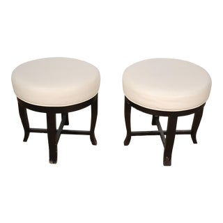 Pair Contemporary White Leather and Ebonized Round Stools For Sale