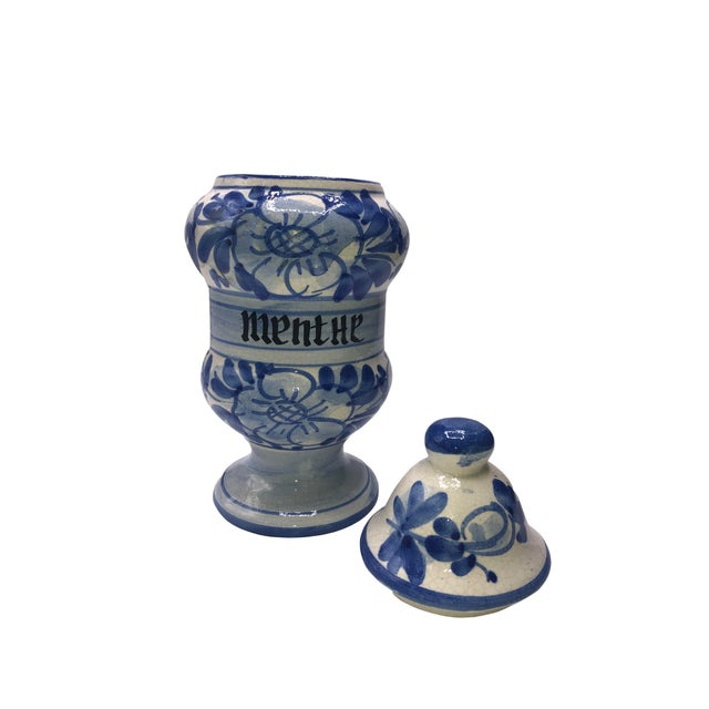 French Vintage French Quimper Breton Apothecary Jar For Sale - Image 3 of 7