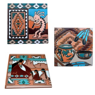 Navajo Handmade Ceramic Tiles - Set of 3