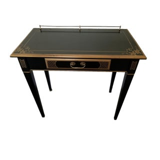 French Louis XVI Style Black Lacquer Writing Desk