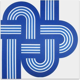 """Original 1970s Blue """"Weave"""" Supergraphic"""