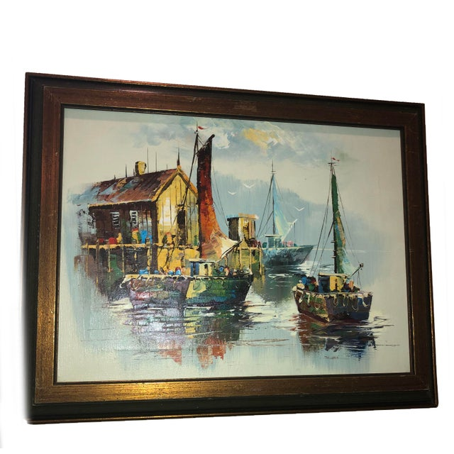 Peaceful Mid Century Painting of Sailboats For Sale - Image 9 of 9
