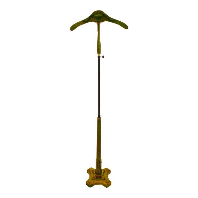 Antique Adjustable Height Valet With Acanthus Leaf Carved Wood Design For Sale