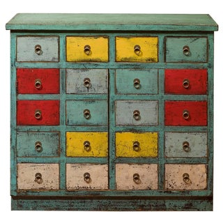 Vintage Chinese Multicolor Distressed Elm Wood Cabinet