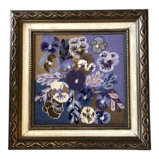 Vintage Original Pansies Needlepoint Custom Frame 1960's For Sale