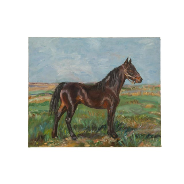 """Blue Grace B. Keogh """"Brown Horse"""" Painting For Sale - Image 8 of 8"""