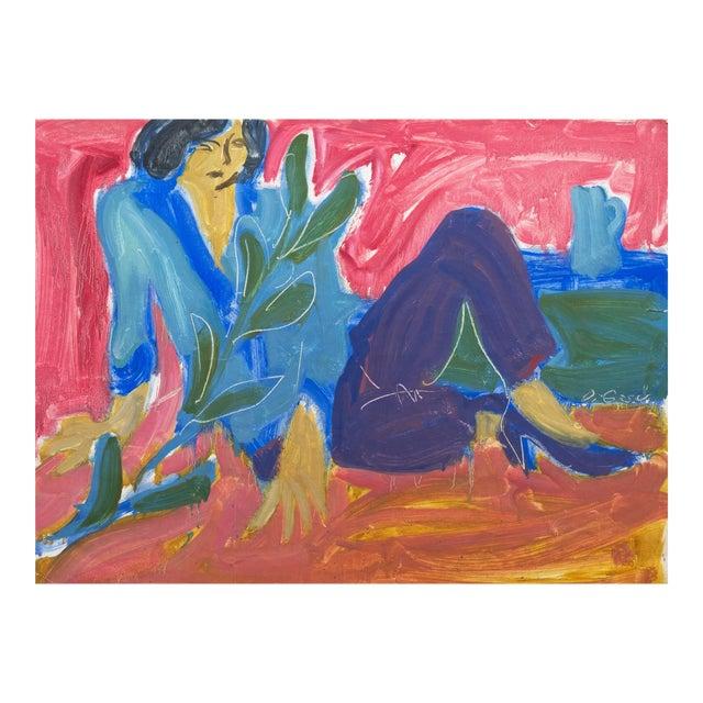 'Woman Seated' by Victor Di Gesu; 1955, Paris, Louvre, Académie Chaumière, California Post-Impressionist, Lacma For Sale