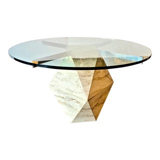 Travertine and Glass Multi-Sided Table For Sale