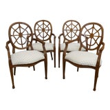 Image of Century Furniture Spider Web Back Style Dining Armchairs- Set of 4 For Sale