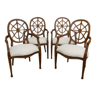 Century Furniture Spider Web Back Style Dining Armchairs- Set of 4 For Sale