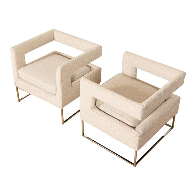 Pair Milo Baughman Open Back Club Chairs For Sale
