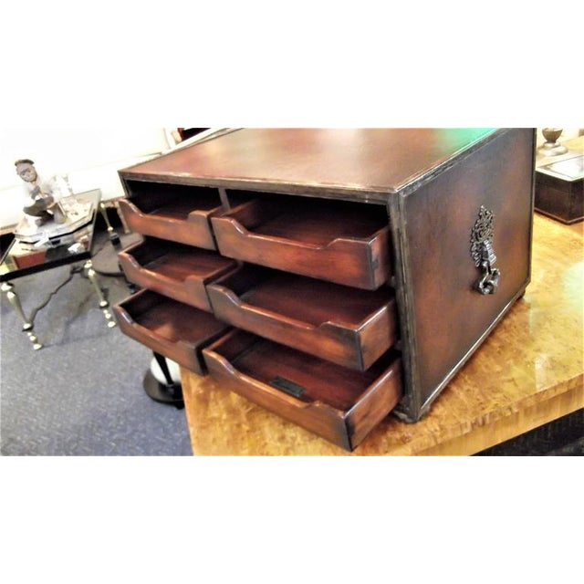 2000 - 2009 Theodore Alexander Mahogany & Leather Desk Organizer For Sale - Image 5 of 7