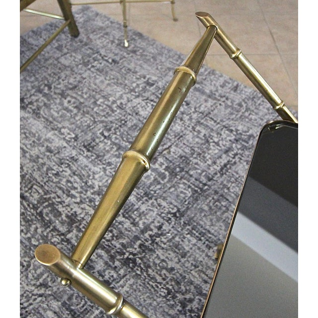 Brass Italian Brass Faux Bamboo Bar Tea Cart For Sale - Image 7 of 13