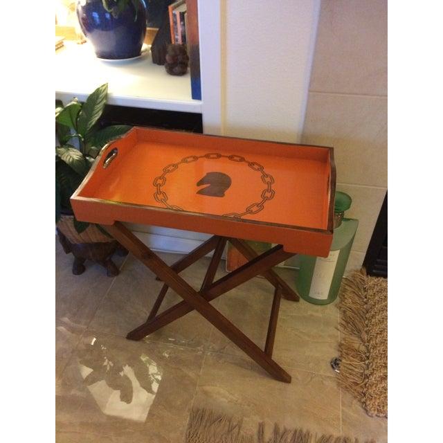 Art Deco Hollywood Regency Hermès Inspired Orange Equestrian Bar Tray Table For Sale - Image 3 of 12