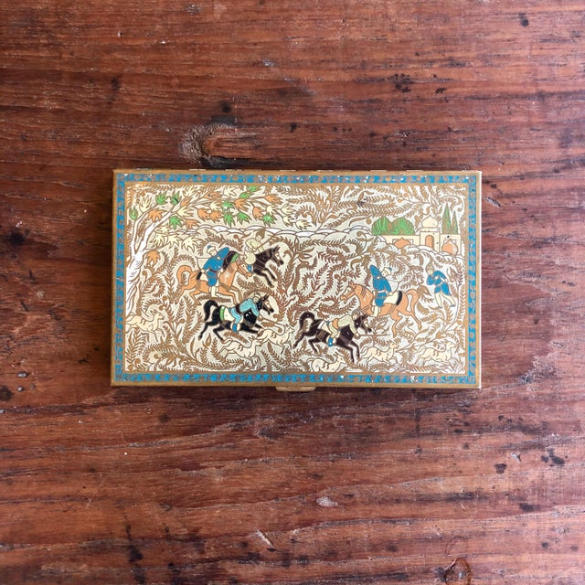 Vintage painted brass cigarette case by Volupte. Circa 1950s.