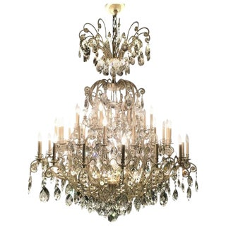 Monumental German Schonbek Painted Brass and Crystal Chandelier For Sale