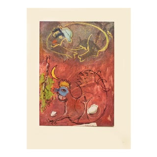"""1947 Marc Chagall """"Listening to the Rooster"""", First Edition Period Lithograph With C. O. A. For Sale"""