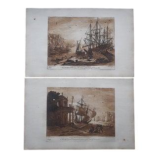 """Antique 18th Century Sepia Mezzotints-Claude Lorrain-""""Liber Veritatis"""" Harbor Scenes-A Pair For Sale"""