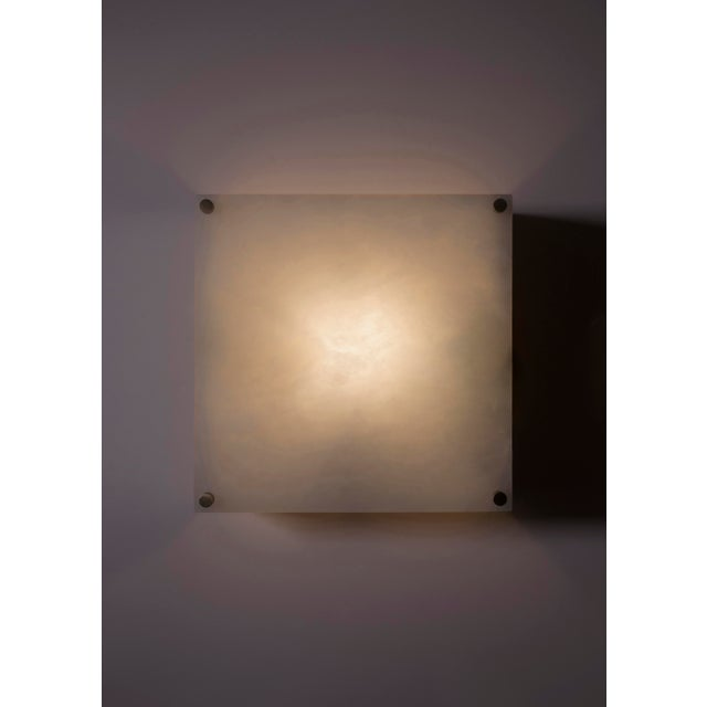 2010s Modern Contemporary 000a Sconce in Alabaster and Brushed Brass by Orphan Work For Sale - Image 5 of 5