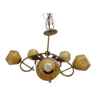 Italian Atomic Brass & Walnut Chandelier Light