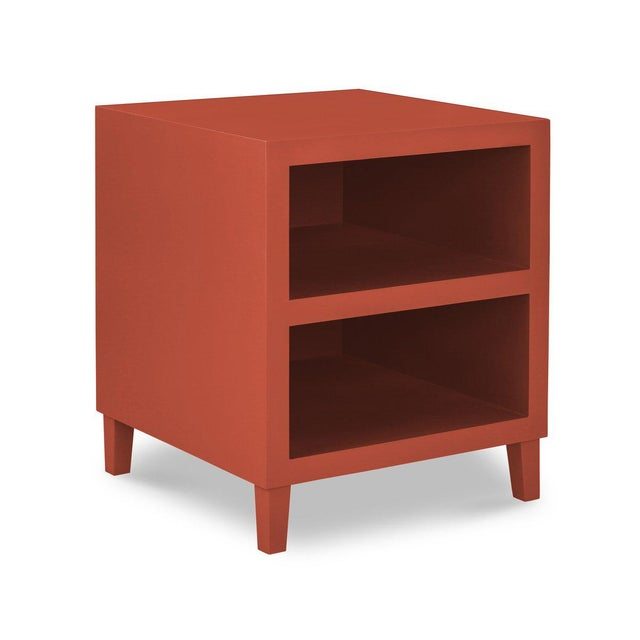 French Elza End Table in Red For Sale - Image 3 of 3