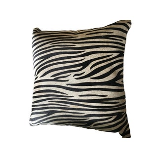 Zebra Print Cowhide Throw Pillow For Sale