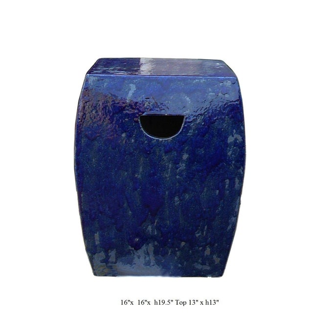 Chinese Navy Blue Clay Garden Stool For Sale - Image 5 of 5