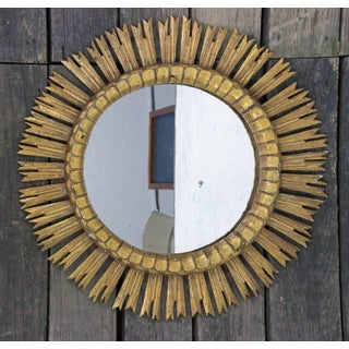 Spanish, 1950s Giltwood Sunburst Mirror With Carved Frame Preview