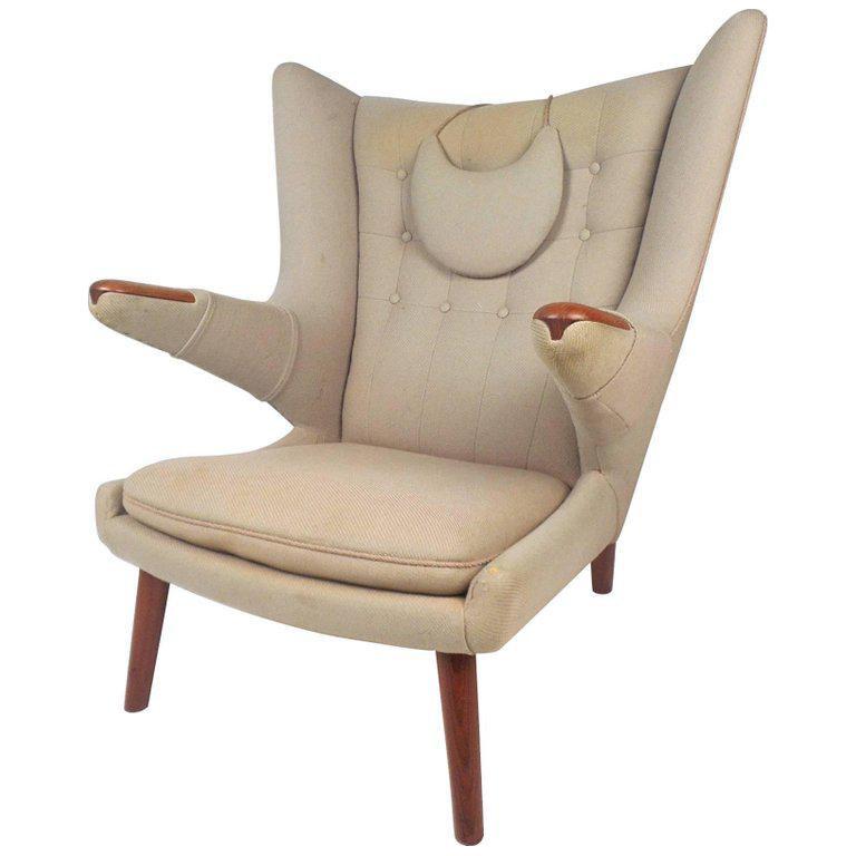 Hans J Wegner Mid Century Modern Papa Bear Lounge Chair