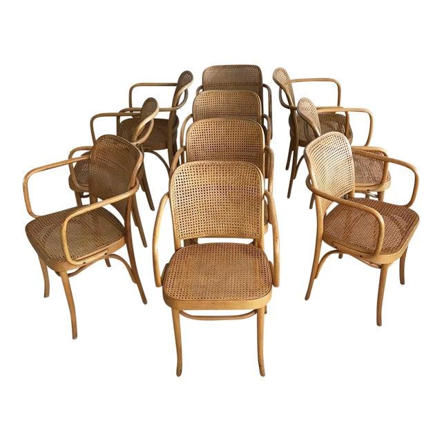 "Mid-Century Josef Hoffmann ""Prague"" 811 Cane & Bentwood Armchairs - Set of 10 - Image 1 of 11"
