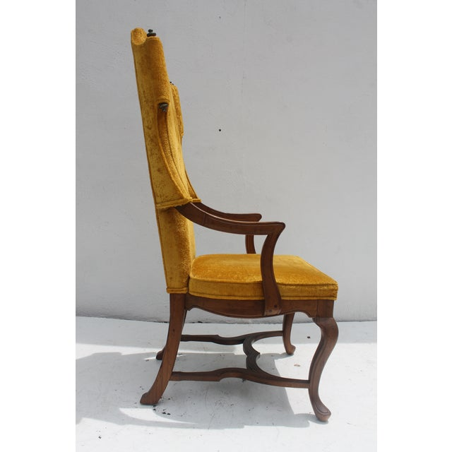Jim Peed For Drexel Brass Final Accent Tall Wingback Chair - Image 5 of 11