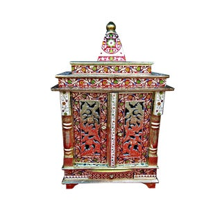Meenakari Multicolor Home Puja Mandir Hindu Temple Altar For Sale