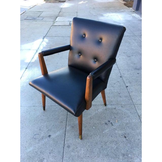 Mid-Century Black Vinyl & Walnut Arm Chair For Sale - Image 9 of 9